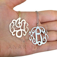 Monogram necklace gold, monogram necklace silver, monogram necklace rose gold, monogram necklace circle, monogram necklace 2 inch, jewelry