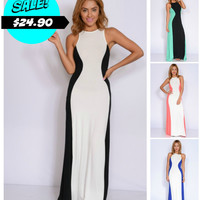 Slimming Illusion Racerback Maxi Dress in 4 Colors