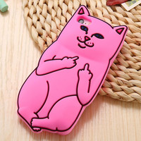 3D Soft Silicon Cat Case For Iphone 6 6s / iphone 6 6s Plus / 5 5s Cartoon Animals Rubber Middle Finger Capa Cover For iphone6 freeshipping=CA010