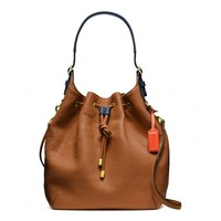 Coach :: New Soft Legacy Drawstring Shoulder Bag In Pebbled Leather