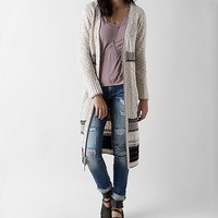 Women's Striped Duster Cardigan Sweater in Cream by Daytrip.
