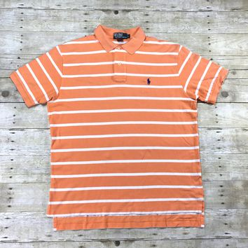 Polo Ralph Lauren Peach / White Striped Polo Shirt Mens Size Large