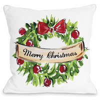 """""""Merry Christmas Wreath"""" Indoor Throw Pillow by Timree Gold, 16""""x16"""""""