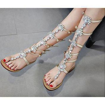Hot-selling fashionable large size 35-42 diamond sandals and flat sandals