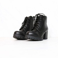 Faux Leather Lace Up Chunky Heel Combat Boots in Black