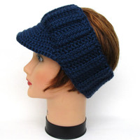 Dark Blue Sun Visor - Women's Head Wrap With Brim - Brimmed Ear Warmer - Men's Visor Headband - Crochet Accessories