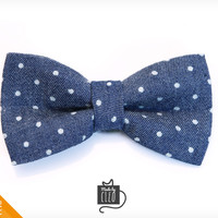 """Pet Bow Tie - """"Weekend"""" - Blue Chambray w/ Mini Dots - Detachable Bowtie for Cats + Dogs"""
