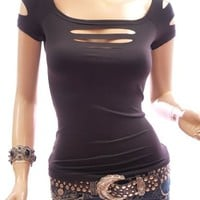 Patty Women Stunning Ripped Cap Sleeve Party Clubwear Top
