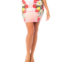 Floral Print Bodycon Mini Pencil Skirt in Pink and Red