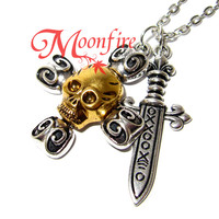 ONCE UPON A TIME Captain Hook Skull and Crossbones Sword Necklace