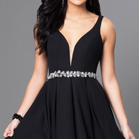 Short Open-Back Homecoming Dress with Low V-Neck