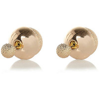 River Island Womens Gold tone sandblast front and back earrings