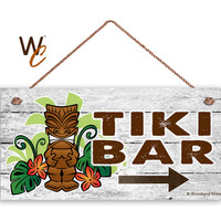 """TIKI BAR Sign, Beach Weathered Wood, Weatherproof, 5"""" x 10"""" Sign, Hawaiin Party Sign, Beach House, Summer Days, Cocktails, Made To Order"""