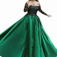 Women Satin Off The Shoulder Ball Gown Long Sleeves Sequined Prom Dresses Evening Gowns Long LB0077