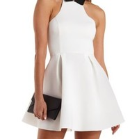 Ivory Combo Collared Racer Front Skater Dress by Charlotte Russe