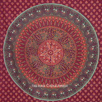 Red Twin Birds  Elephant Printed Bohemian Throw Tapestry Wall Hanging on RoyalFurnish.com