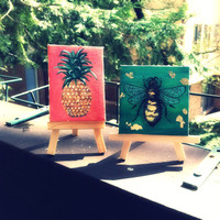 Bumble Bee Miniature Painting- 3 inch square- Tiny Details, Beautiful Green Blended Background, Gold Leaf- Perfect Gift!
