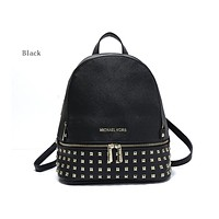 MK Fashion Hot Selling Pure Lady's Rivet Backpack with Shoulder Pack Black