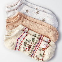 AEO Metallic Star Shortie Socks 3-Pack, Oatmeal Heather