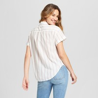 Women's Striped Short Sleeve Button Down Shirt - Universal Thread™ Cream