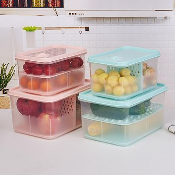 Square Transparent Box With Lid And Compartment For Dual-Purpose Fruit And Vegetable Draining Fresh-Keeping Box Refrigerator Food Storage Box Storage Box