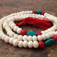 Tibetan White Bone 108 Beads Full Mala Necklace for Meditation - Traditional Turquoise and Coral Bead Spacer