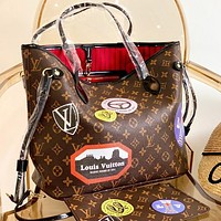 Louis Vuitton LV Fashion New Monogram Floral Print Leather Shoulder Bag Handbag Two Piece Suit Coffee