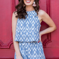 The Palmer Romper, Blue Ikat