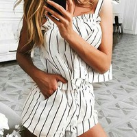 Casual Instant Vacation Sexy Haltel Striped Romper
