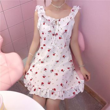 2018 summer dresses new Japanese girl Harajuku sweet cute girl fairy fairy kawaii floral vadim strap lotus leaf party dress