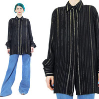 Black Metallic Striped Blouse Black and Gold Blouse Black Striped Shirt Womens 1980's Button Down Shirt Collared Slouchy Long Sleeve (M/L)