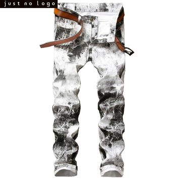 Mens White Mixed Black Jeans Skinny Slim Fit Jeans Straight Distressed Denim Pants HipHop Jeans Streetwear Trouser for Men