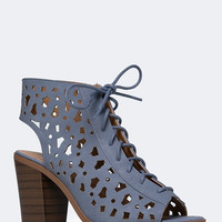 CUTOUT LACE UP BOOTIE