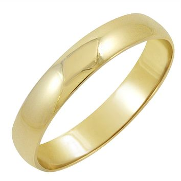 Men's 14K Yellow Gold 4mm Traditional Fit Plain Wedding Band (Available Ring Sizes 8-12 1/2)