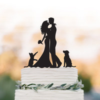 Wedding Cake topper With dog and cat Bride and groom silhouette funny wedding cake topper
