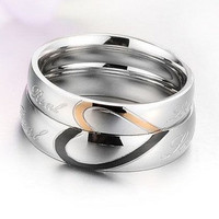 2pcs  Heart-shaped puzzle titanium couple rings/lovers rings