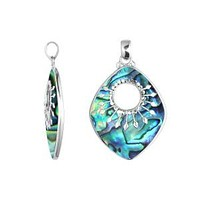 SP-5215-AB Sterling Silver Beautiful Rhombus Designer Pendant With Abalone Shell