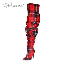 Limited Edition Pink Palms Shoes Women Pleated Boots in Sexy Winter Over the Knee Boots Women High Heels Plaid Boots Red Macchar Cosplay Catalogue