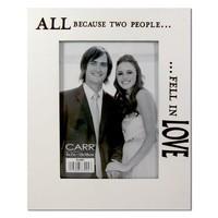 """CARR By Burnes Of Boston """"All Because Two People Fell In Love"""" Large-Size 7"""" x 5"""" Wedding / Engagement Real Wood Engraved Photo Frame"""