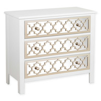 Pulaski Accent Drawer Chest with Mirrored Drawer Fronts in White/Champagne