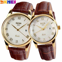 2016 New Brand Quartz Watch lovers Watches Women Men Dress Watches Leather Dress Wristwatches Fashion Casual Watches Gold 1/pcs