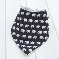 Baby Bandana Bib with Unbleached Bamboo Terry and Navy Blue ELEPHANTS On PARADE - A New Baby Gift Idea from Cwtch Bugs