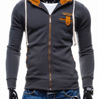 Applique Button Pocket Long Sleeves Zippered Hoodie