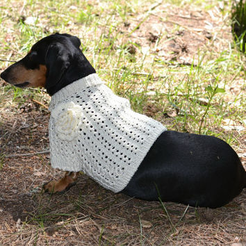 White Flower Sweater Vest Handmade Openwork For Pets Clothes Hand Knitting Jacket READY TO SHIP