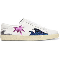 Saint Laurent - Court Classic glittered leather sneakers