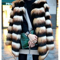 Hairy Shaggy Faux Fox Fur Round Neck Contrast Color Striped Jackets Long Coat SUPER QUALITY    Women's Outerwear