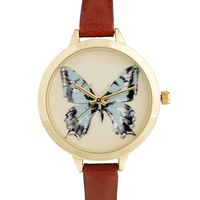 ASOS Butterfly Large Face Slim Strap Watch