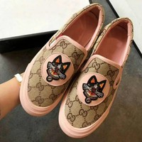Gucci Stylish Trending Women Casual Dog Embroidery Slip-On Espadrilles Flats Shoes Pink I-CSXY