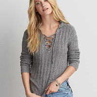 AEO Lace-Up Hoodie Sweater , Heather Gray