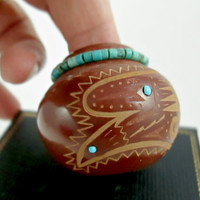 Vintage Native American Sioux RED STARR Pottery Miniature Pot Red Clay Etched Eagle Sun Adorned Turquoise wreath & inset very COLLECTIBLE